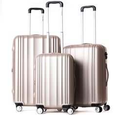 This durable and attractive three-piece luggage set offers style and storage for…