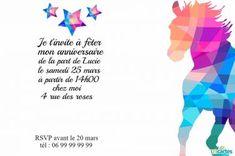 Invitation anniversaire Cheval au couleurs de diamants