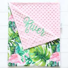 Adorable tropical baby girl blanket with flamingo and palm leaf print 🍃 Flamingo Nursery, Tropical Nursery, Flamingo Baby Shower, Toddler Blanket, Minky Baby Blanket, Baby Girl Blankets, Palm Tree Background, Name Embroidery, Personalized Baby Blankets