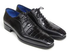 Bicycle-toe oxford style men's dress shoes. Black genuine crocodile and black calfskin upper Antique burnished leather sole Blue leather lining and innersole   This is a made-to-order product. Please allow 15 days for the delivery. Because our shoes are hand-painted and couture-level creations, each shoe will have a unique hue and polish, and color may differ slightly from the picture.