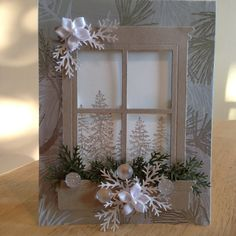 Christmas card design with the Big Shot and Framelits - - Xmas Cards, Holiday Cards, Handmade Christmas, Christmas Crafts, Window Cards, Hearth And Home, Christmas Makes, Creative Cards, Greeting Cards Handmade