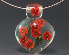 Handmade Lampwork Glass Focal Bead by ikuyoglassart SRA #Handmade #FlowerMurriniBead