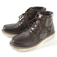 【9折優惠↘】EDWIN 個性格紋高級牛皮短靴 男款 深咖啡