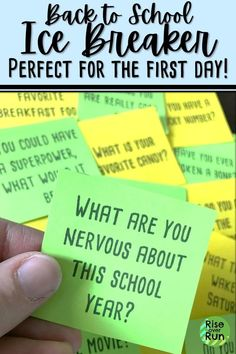 I love this ice breaker game for the first day of school. Students ask each other questions and get to know each other. Great way to encourage group work and cooperation when students come back to school. Great for any subject! Icebreaker Activities, First Day Of School Activities, 1st Day Of School, Beginning Of The School Year, School Games, School Icebreakers, Leadership Activities, Group Activities, Professor