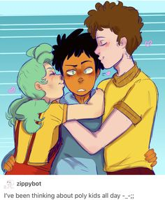 Poly babes/ I don't ship it since they're kids but the art is cute