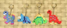 Dinosaur Perler Magnets Keychains and by merkittenjewelry on Etsy
