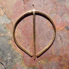 Brass Penannular Brooch Fibula Scarf Pin by BebesBaublesJewelry, $20.00