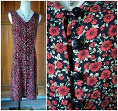 Vintage Dress 90s Grunge Floral Button Down by caligodessvintage