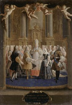 Marriage of Louis XV and Marie Lecszinka at chapelle de Fontainebleau on 5 septembre French school Versailles, French Royalty, Art Through The Ages, Rococo Fashion, French History, 18th Century Fashion, History Timeline, Architectural Antiques, Chapelle
