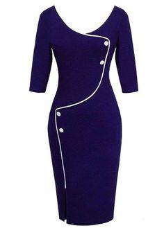 Navy Blue 3/4 Sleeve Pencil Dress For Work