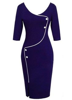High Waist Front Slit Navy Blue OL Dress | lulugal.com - USD $24.01