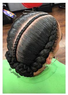 Criss-Cross Goddess Braids - 70 Best Black Braided Hairstyles That Turn Heads in 2019 - The Trending Hairstyle Black Girl Braids, Braids For Black Hair, Braids For Kids, Girls Braids, 2 Feed In Braids, Curly Hair Styles, Natural Hair Styles, Two French Braids, Twisted Hair