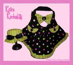 Rockabilly Dog Clothes Pattern To Sew Sun Dress & Hat PDF