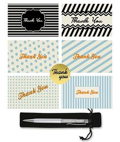 Perfect for Weddings Sealing Stickers and Complimentary Silver Stylus Pen 48 Thank You Cards Bulk Funerals Holidays Business Blank Thank You Notes with Envelopes Navy Blue, 4x6 Baby Showers