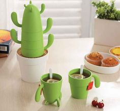 A set of mugs that turn into a cactus when you stack them up.