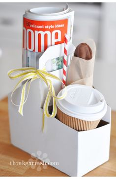 "coffee or juice, cookie, and magazine morning treat- maybe for a ""cheer up"" or ""feel better"" surprise!"