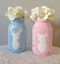 Buck or Doe Painted Mason Jars, Gender Reveal, Party Centerpiece, Pink, Blue, Girl or Boy, Baby Shower, Gender Reveal Decor