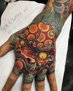 Fist Tattoo, Foo Dog Tattoo, Mark Tattoo, Dog Tattoos, Tattoo Ink, Body Art Tattoos, Sleeve Tattoos, Japanese Hand Tattoos, Japanese Tattoo Designs