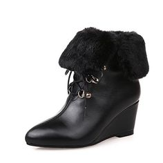 VogueZone009 Womens Solid Cow Leather Boots with Wedge and Bandage Black 40 -- Click image for more details.