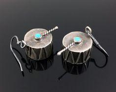 OLD NATIVE AMERICAN NAVAJO STERLING SILVER & TURQUOISE DRUM EARRINGS   | eBay