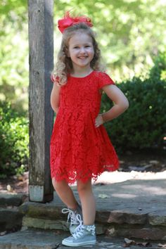 eb34b5b3607 Get ready for any occasion with this beautiful Red Lace Dress! Cap sleeves