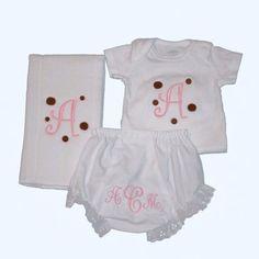 onesie, burp cloth and diaper panties