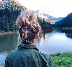 Upside down braid bun by Amber Fillerup Clark
