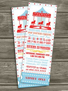 Vintage Carousel Ticket Invitation  FREE par DazzleExpressions, $15,00