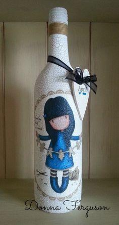 Gorjuss Girls Decoupage Crackle Bottle. #Gorjussgirls #decoupage