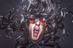 man, wig, rock, rock start, rock star, music, hair, funny, fashion, adult, music, open mouth, yell, scream,