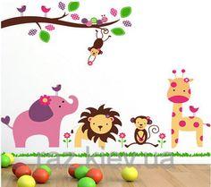 """Декоративные наклейки для детского сада, наклейка в детскую, наклейки на шкаф """"звери под веткой"""" 90*1м20см, фото 1"""