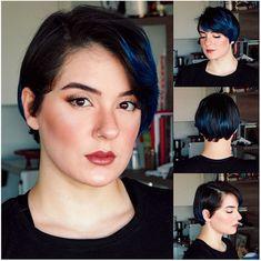 pixie hair cuts Popular Hairstyles, Latest Hairstyles, Pixie Hairstyles, Pixie Haircut, Blue Highlights, Dark Hair, Hair Looks, Short Hair Cuts, Your Hair