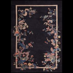 """Floral design on a black field antique Chinese Carpet: Rug #21566 size:5' 7''  x 8' 0"""""""