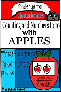 This fun low prep printable is an engaging activity that can be used with any childrens' book on the topic of apples. This resource can be taught in a booklet style independently or individual sheets covering one number at a time.  My kinders enjoyed this activity!! #alottathemes #counting #mathcenters Printing Practice, Subitizing, How To Make Box, Alphabet Activities, Learning Through Play, Math Skills, Math Centers, Number One, Booklet