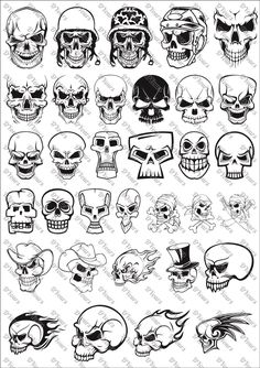 Skulls Vector Clipart – 33 Vector Models – svg cdr ai … – Graffiti World Tattoo Sketches, Tattoo Drawings, Drawing Sketches, Graffiti Drawing, Graffiti Lettering, Script Lettering, Skull Tattoo Design, Skull Tattoos, Skull Design