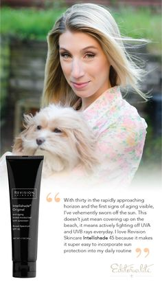 """""""With thirty in the rapidly approaching horizon and the first signs of aging visible, I've vehemently sworn off the sun. This doesn't just mean covering up on the beach, it means actively fighting off UVA and UVB rays everyday. I love Revision Skincare Intellishade 45 because it makes it super easy to incorporate sun protection into my daily routine"""""""