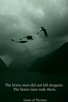 The Brave men did not kill dragons. The Brave men rode them.