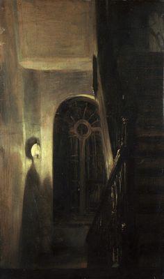 Adolph Friedrich Erdmann von Menzel, Staircase in Night-Light (Treppenflur bei Nachtbeleuchtung) 1848