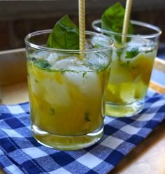 Mango & Basil Vodka Infusion and cocktail recipe! A summer-y and fresh vodka cocktail! #summer