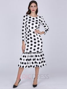 Polka dot fishtail dress summer