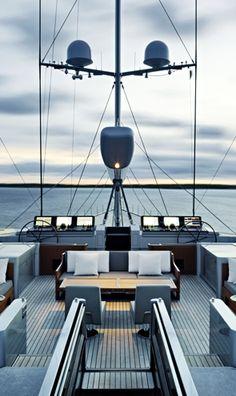 Aft deck of S/Y Vertigo, design by Christian Liaigre
