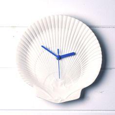 White Shell and Blue Wedgwood China Bathroom  Wall Clock