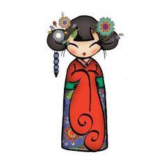 Caja de Regalo Elección del Color Japonés Kokeshi Geisha Girl Doll Encanto Colgante Collar