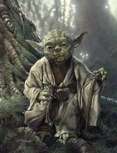 Star Wars: The Empire Strikes Back - Yoda by Chris Trevas Star Wars Jedi, Lego Star Wars Clone, Images Star Wars, Star Wars Pictures, Yoda Pictures, Star Wars Fan Art, Le Retour Du Jedi, Star Wars Tattoo, Star Wars Poster