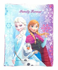 Look at this Frozen 'Family Forever' Sherpa Blanket on #zulily today!