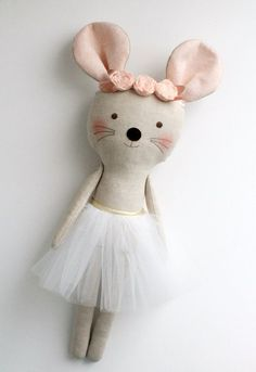PDF sewing pattern for Blank Cat Doll for crafting 37 Pink & Gold mouse ballerina in a white tutu. Stuffed by blita Pdf sewing pattern for blank cat doll for crafting 37 cm 14 5 inches diy tutorial ready to print for cloth dollMessy studio with mini dolls Doll Patterns, Sewing Patterns, Fabric Doll Pattern, Sewing Crafts, Sewing Projects, Fabric Animals, Fabric Toys, Cat Doll, Sewing Dolls