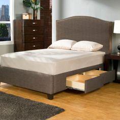 Manhattan Tufted Upholstered Storage Platform Bed - Storage Beds at Hayneedle Best Storage Beds, Bed Frame With Storage, Bed Storage, Storage Drawers, Stylish Bedroom, Panel Bed, Upholstered Beds, Bedding Shop, Bed Sizes
