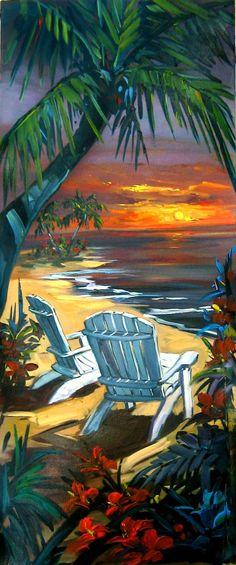 Steve Barton at the beach art Nature Verte, Caribbean Art, Hawaiian Art, Tropical Art, Surf Art, Beach Scenes, Beach Art, Pictures To Paint, Oeuvre D'art