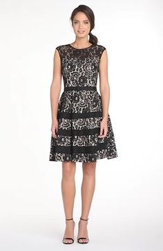 Belted Cap Sleeve Lace Fit & Flare Dress