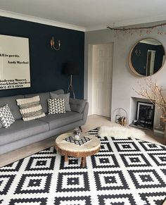 Lucinda Mitra & # s Scandi, Rustic House - Decoration Ideas Blue Feature Wall Living Room, Navy Living Rooms, Blue Living Room Decor, Living Room Color Schemes, Home Living Room, Living Room Designs, Dark Blue Living Room, Dark Blue Feature Wall, Charcoal Sofa Living Room